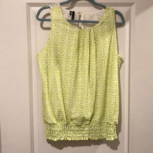 Lime Green and Lace Sleeveless Top